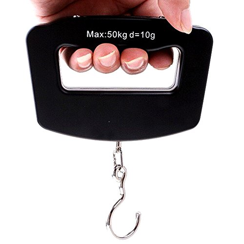 Aoklea Mini Balance de Poche Portative Pese Bagages Peson Numerique Electronique avec Crochet 10g-50kg pour Bagages Peche Valise Parcelle