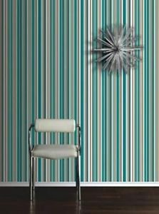 Sophia Stripe Wallpaper - Teal from New A-Brend