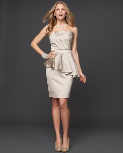 Bebe Cascading Ruffle Satin Pencil Dress   Rami Kashou Champagne