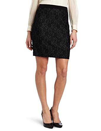DKNYC Women's Bonded Lace Pencil Skirt, Black, 2