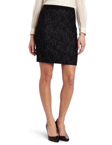 DKNYC Women's Bonded Lace Pencil Skirt, Black, 2 Image