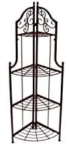 AQ BR-0975-RC4 Antique Copper 4 Tier Corner Baker's Rack with Scroll Design, Flip and Lock, 18 by 12…