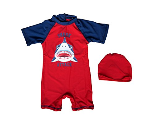 Bonverano(TM) Baby boy's UPF 50+ Sun Protection S/S One Piece Zip Sun Suit(Shark 9-12 mos) (Thermal Swimsuit For Baby compare prices)