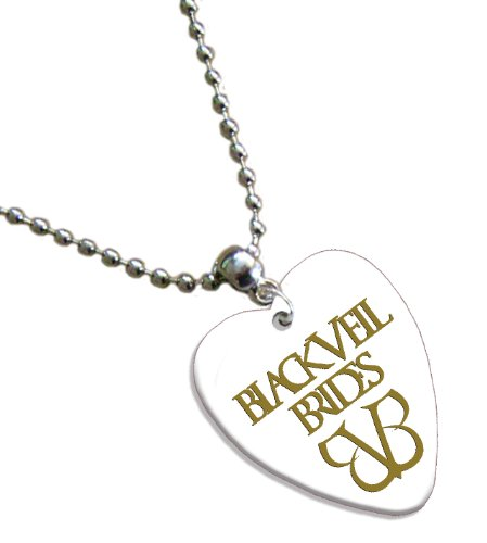 Hot Foil on White Love Heart Black Veil Brides Pick Collana plettro