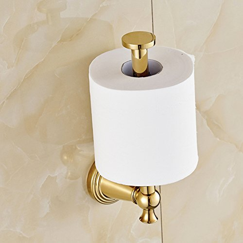 Gold Polished Upright Style Toilet Paper Holder Wall Mount Tissue Bracket