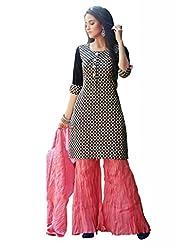 Ekvi Women's Cotton Straight Salwar Kameez (Black)