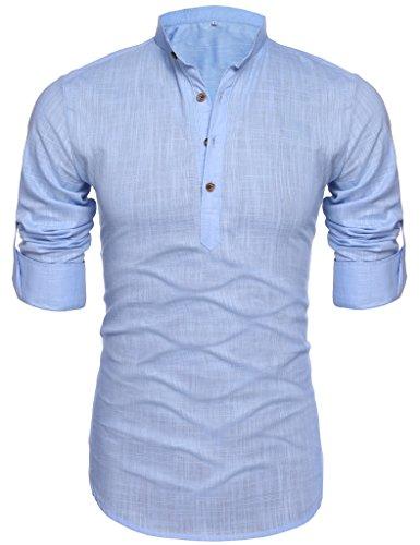 Men's Long-Sleeve Solid Linen Popover Shirt Light Blue XL (Light Blue Linen Shirt compare prices)