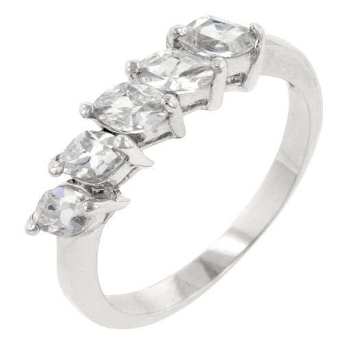 Sterling Silver Cubic Zirconia Prong Set Anniversary Ring in Size 8