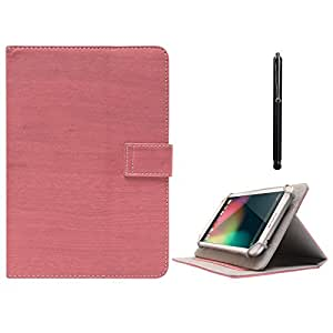 DMG Protective Flip Book Cover Stand View Case for Lenova A2107 (Pink) + Capacitive Touch Screen Stylus