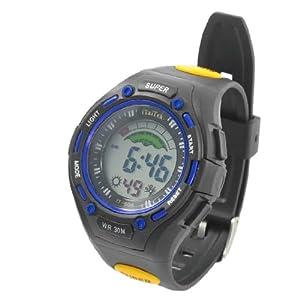 Man Round Dial Case Cold Light Stopwatch Alarm Clock Sport Watch Black Blue
