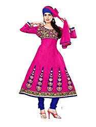 DKS Designers Women's Cotton Unstitched Dress Material (NIH03_Pink_Free Size)