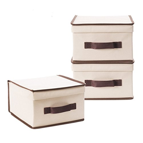 StorageManiac Pack of 3 Foldable Natural Polyester Canvas Storage Box, Convenient Storage Box with Lid, Medium