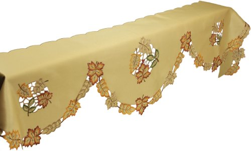 Xia Home Fashions Bountiful Leaf Embroidered Cutwork Mantel Scarf, 82 By 60 By 20-Inch front-634325