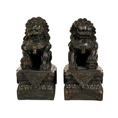 Oriental Furniture Classic Elegant Unique Business Corporate Gift Idea For Him Her, 9-Inch Chinese Foo Dog Lion Statue Book Ends, Pair