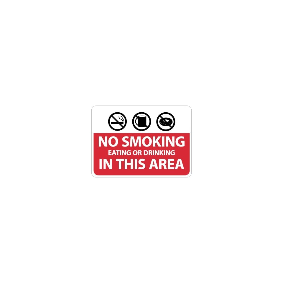 NMC M760AB No Smoking Sign, Legend NO SMOKING EATING OR DRINKING IN THIS AREA with Graphic, 14 Length x 10 Height, Aluminum 0.40, Black/White on Red