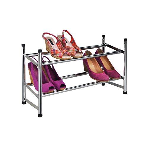 Design-SCHUHREGAL-mit-2-Etagen-Ausziehbar-fr-bis-zu-12-Paar-Schuhe-Stapelbar-und-Robust