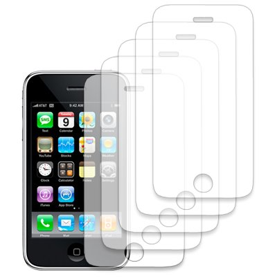 EMPIRE 5-Pack LCD Screen Protector with Lint Cleaning Cloth for Apple iPhone 3G 8GB 16GB [EMPIRE Packaging]