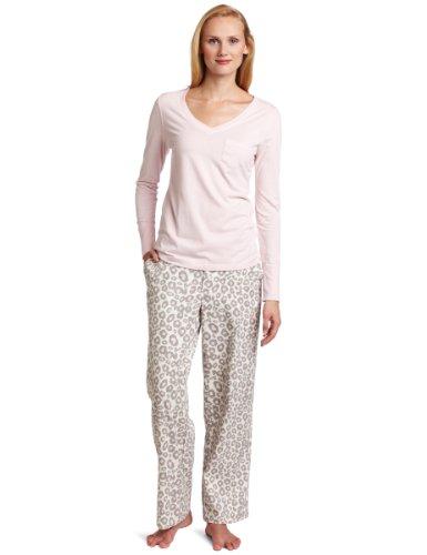 Dearfoams Women's Knit V & Flannel Pant Set