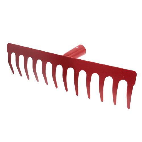 Amico Red Metal 12 Tine Hand Cultivator Rake Tool Head no Handle