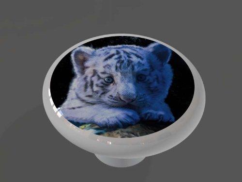 Baby White Tiger Decorative High Gloss Ceramic Drawer Knob front-1066348