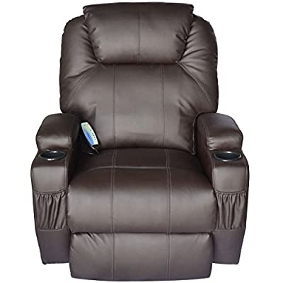 Massage Recliner Sofa Leather Vibrating Heated Chair Lounge Executive w/ Control - Brown