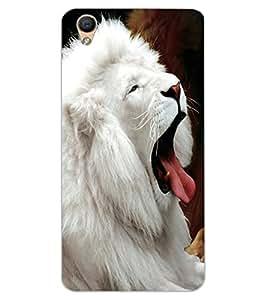 ColourCraft White Lion Design Back Case Cover for OPPO R9