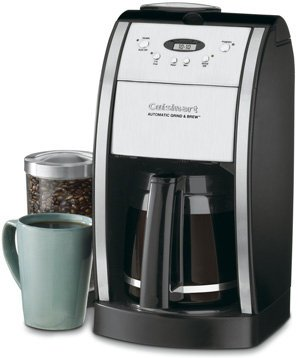 Cuisinart Grind & Brew 12-Cup Automatic Coffeemaker, Features Built In Grinder, 12 Cup Carafe with Ergonomic Handle, Dripless Spout and Knuckle Guard, with Pause N' Brew Option, 24 Hour Fully Programmable and Gold Tone/Charcoal Filter Included (12 Cup Progammable Coffee Maker compare prices)