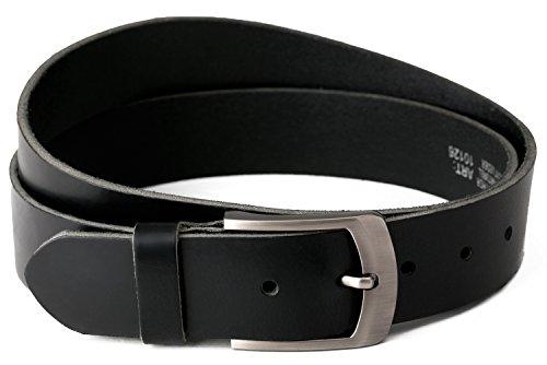 Nero Cintura 100% pelle di bufalo, 40 mm di larghezza e circa 3-4 mm di spessore, accorciabile, cintura, cintura in pelle, cintura per abito uomo, cintura per jeans, #10125 (waist size (Bundweite) 125cm)