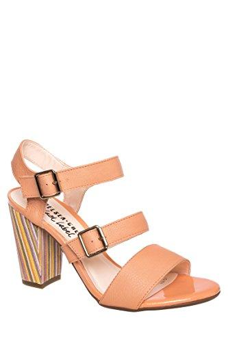 Rainbow Triple Strap Chunky Heel Sandal