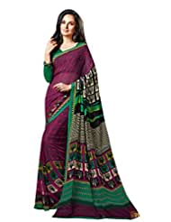Purple Color Georgette Printed Saree With Blouse 7035