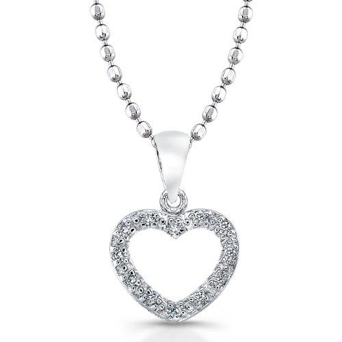 Victoria Kay Sterling Silver Diamond Heart Pendant (0.05cttw, JK, I2-I3), 18