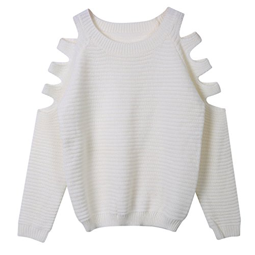 minetom-femmes-casual-retro-epaule-off-manches-longues-col-o-pull-sweater-en-tricot-top-blouse-blanc