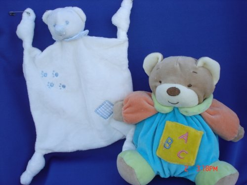 Ultra Soft Baby Blue Teddy Bear Plush Blankie 7.5