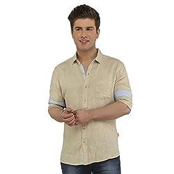 Attila Men's Casual Shirt (3306212755_Beige_44)