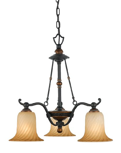 Quoizel GE5103SE Geneva 3-Light Chandelier with Twisted Amber Scavo Glass, Stonehedge