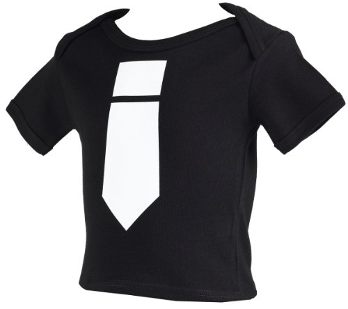 Spoilt Rotten - White Tie Baby & Toddler Retro T-Shirt 100% Organic Sizes 0-6 months BLACK