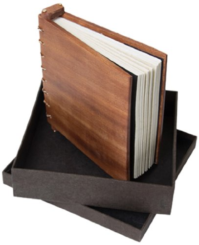 Anglesey Paper Company Wooden Journal/Guest Book with Refillable Lokta Paper and Presentation Box