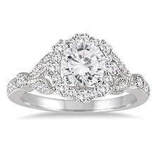 buy 1 1/3 Carat Antique Diamond Halo Engagement Ring In 14K White Gold
