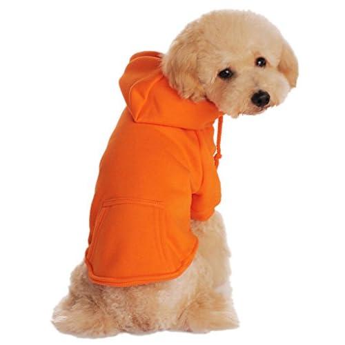 (ラボーグ) La Vogue ペット服 犬服 フード付き スウェット オーバーオール 犬コート アウター パーカー ワンちゃん ドッグ洋服 純色 カジュアル 愛犬グッズ (Cオレンジ, XL)