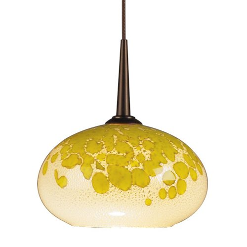 """Laguna 1 Light Monopoint Down Mini Pendant Finish: Bronze, Canopy/Bulb Type: 4"""" Kiss Canopy/Led, Glass Color: Yellow And White"""