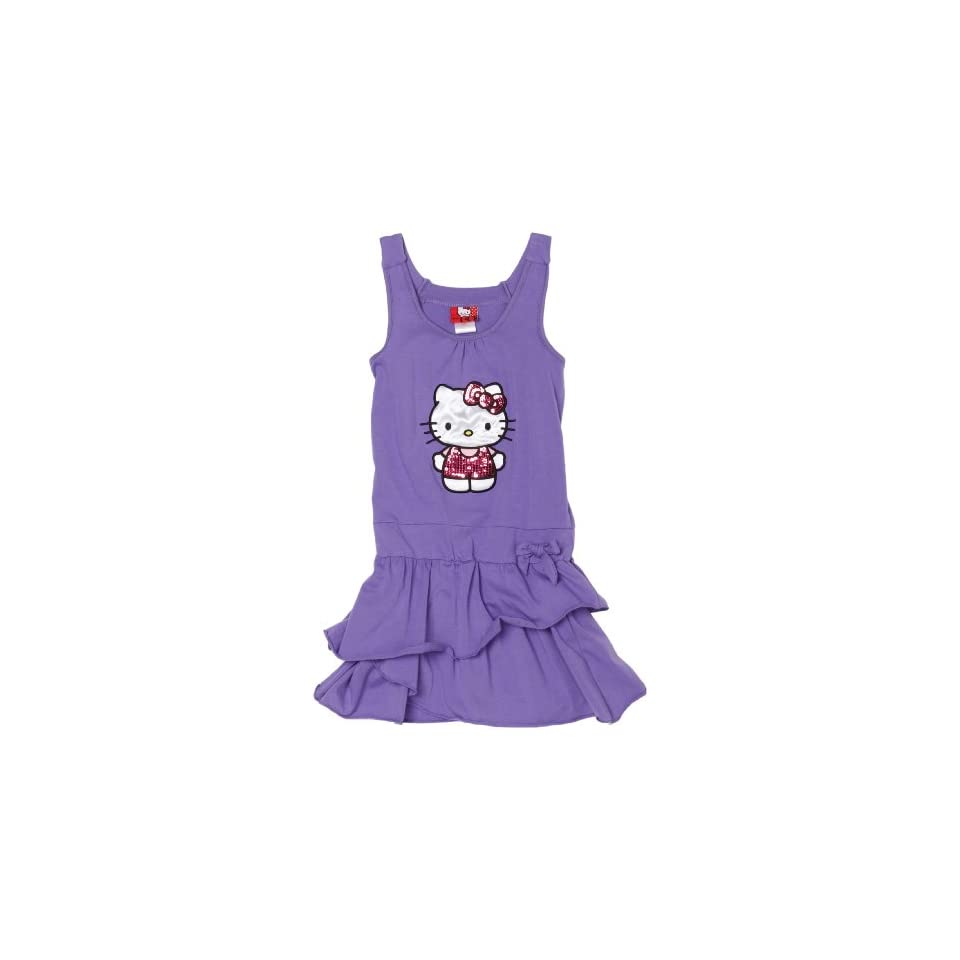 Hello Kitty Big Girls Purple Dress, Dahlia Purple, 12/14