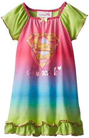 SGI Apparel Little Girls'  Dorm Supergirl Nightgown, Multi, 3T