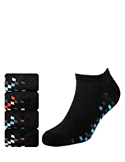 4 Pairs of Cotton Rich Pixel Sole Freshfeet™ Trainer Liner Socks with Silver Technology