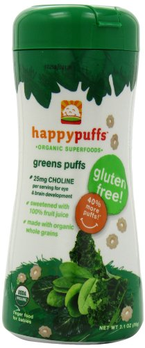 Happy Baby Organic Puffs, Greens Puffs, 2.1-Ounce Containers (Pack of 6)
