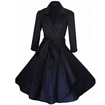 BLACK 50's STYLE ROCKABILLY / SWING / PIN UP COTTON WRAP EVENING PARTY DRESS SIZES 8 - 22 (6)