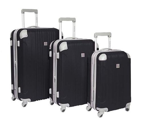 Travelers Choice Luggage Beverly Hills Country Club Malibu 3 Piece Hardside Spinner Set, Grey, One Size