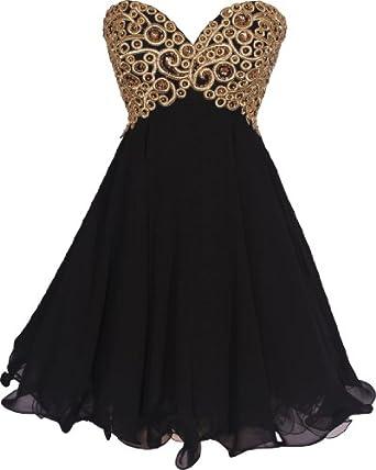 Chiffon Embroidered Babydoll Prom Dress: Amazon Fashion