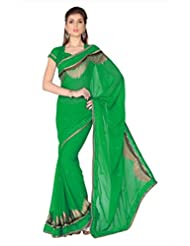 Designersareez Women Green Faux Georgette Saree With Unstitched Blouse (1757)