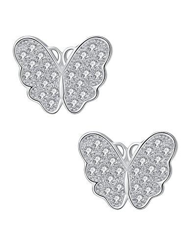 Pendientes de Mariposas en Plata con Circonitas