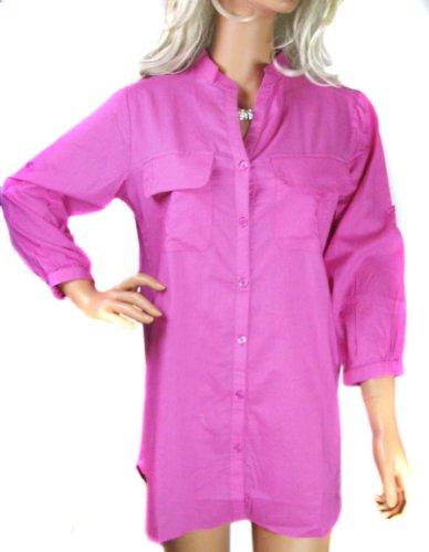 Ladies Pink Long Loose Fit Long Blouse Shirt